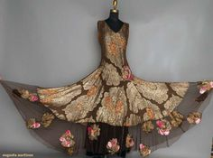 Historical Dress — PRINTED GOLD LAME GOWN, 1930s Chocolate brown silk...