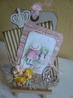Sweet Shabby Vintage Easter. Using colored pencils and water to shadow the negative of a stamp
