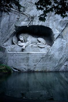 """This is a memorial in Lucerne, Switzerland to remember the massacre of Swiss guards during the French Revolution. Mark Twain said the stature is, """"the most mournful and moving piece of stone in the world."""""""