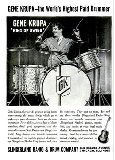 """Gene Krupa (""""The World's Highest Paid Drummer"""") in this ad from the Slingerland """"Banjo & Drum Company."""" (Wonder what happened to the banjos? Drums For Kids, How To Play Drums, Music For Kids, Drums Quotes, Big Band Jazz, Gretsch Drums, Drums Art, Vintage Drums, Drum Lessons"""