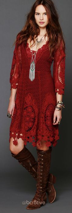 Free People - Mi Amore Lace Dress - Floral crochet dress with 3/4-length bell-sleeves