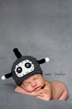 Robot Hat Newborn Baby Hat Photography Prop by FashionTouch, $30.00