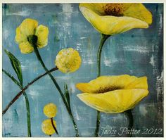 theartgirljackie-tutorials: Palette Knife Painting Textured Yellow Poppies