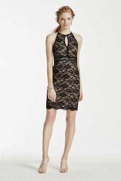All Over Lace Keyhole Halter Strappy Back Dress - Black, 6