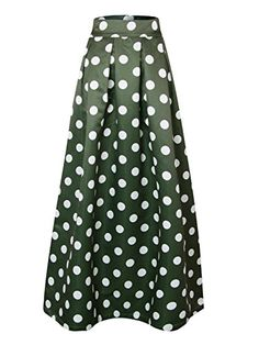 f98803f420 Choies Women Dark Green Contrast Polka Dot Print Elastic High Waist Maxi  Skirt 12 High Waist Skirt and Stretch in Waist Thick fabric / Impossible to  be see ...