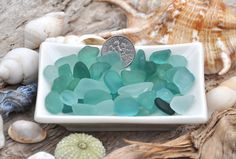 45 Grams Sea Glass Bits Aqua Teal Mix by BeachBountySeaGlass