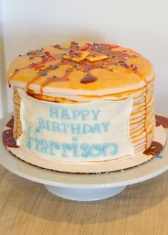 What? This awesome stack of pancakes is really a cake for baby's pancake and PJ 1st birthday party!