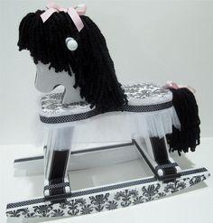 Black and White Damask Rocking Horse
