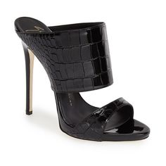 "Giuseppe Zanotti 'Coline' Double Band Mule, 5 1/4"" heel ($313) ❤ liked on Polyvore featuring shoes, black leather, high heel mule shoes, leather slip-on shoes, high heeled footwear, black slip-on shoes and black mules shoes"