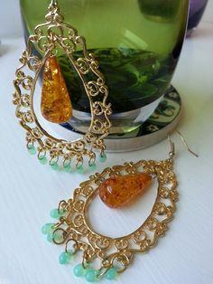 'Solara' earrings by Church of Adornment. Gold filigree, imitation amber and miyuki drop beads.