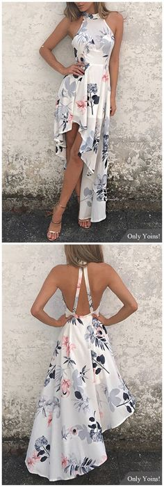 White Sexy Random Floral Print Irregular Hem Dress