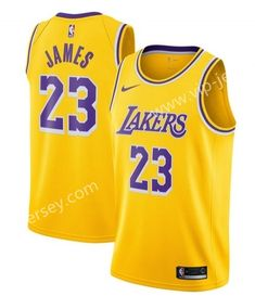 d553cd1d6 NBA Los Angeles lakers Round Collar Yellow  23 (JAMES) Jersey