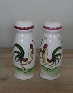 rooster and roses | Vintage roosters and roses salt and pepper by suesuegonzalas