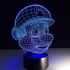 #3D #Optical #Illusion #Lamp #Night #Light Super Mario #geekled #gift