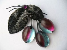 Extremely rare vintage Austria fruit pin/brooch PLUMS