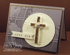Blessed by God Easter Card. When thinking about my the design for my handstamped Easter card, the Bible verse John 3:16 came to mind to use for the greeting. The rest of the card formed around the desire to use that verse with a wood cross stamp for my Stampin' Up! Blessed by God Easter card. Order Blessed by God in my online store http://www.shopwithshelly.com #eastercardideas #handstampedeastercards #stampinupblessedbygod #religiouseastercards