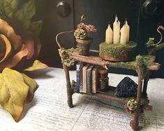 Faery Bookshelf - fairy furniture, fairy shelf, miniature bookshelf, crystals, books - ooak handmade by thefaeryforest