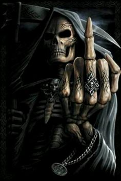 Dark fantasy art death giving the finger fuck you