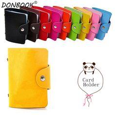 Donbook Unisex Cards Holder PU Leather Organizer Folding Packages for Bank Cards 24 Grids KB001