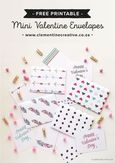 Download and print these cute mini envelopes and notecards for Valentine's Day!