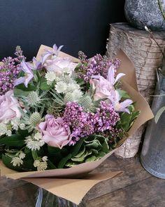 Lilac, clematis, astrantia and memory lane roses www.freshflower.co.uk