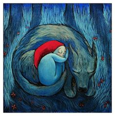 Amics estiuenc: Caputxeta Vermella i el llop / Amigos veraniego: Caperucita Roja y el lobo / Summery friends: Red Riding Hood and the Wolf Art And Illustration, Food Illustrations, Red Ridding Hood, Chant, Whimsical Art, Little Red, Illustrators, Fantasy Art, Fairy Tales