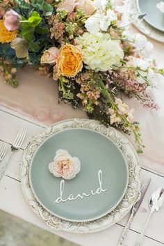 Aqua, Peach, and Blush Monet Wedding Place Setting | Jessica Peterson Photography | Wedding Styling Spotlight on Michelle Leo Events