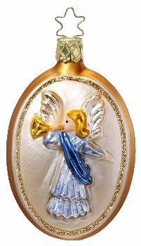 "Messenger of Good News (Angel).   3-3/4"" glass ornament.  New for 2011. Inge Glas No. 1-050-11.  Hand-blown, hand-painted.   From Inge Glas studios in Neustadt, Germany. Available at www.mygrowingtraditions.com    The angel represents God's guidance."