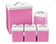 5-Piece Storage Set £20.00 5-piece enamel storage set with an embossed logo design and stainless steel handle. Handwash only. Set comprises of bread bin H28.5 x W34.5 x D21cm, biscuit tin H14.5 x W14.5 x D19cm and tea, coffee and sugar canisters H12 x W12 x D16.5cm.