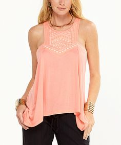 Loving this Lagaci Peach Geometric Embroidered Racerback Tank on #zulily! #zulilyfinds