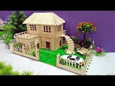 Building Popsicle Stick Mansion - Popsicle Garden Villa - Dreamhouse - YouTube Popsicle Stick Crafts House, Popsicle Crafts, Popsicle Sticks, Craft Stick Crafts, Garden Villa, Garden Cottage, Miniature Houses, Fairy Houses, Popsicles