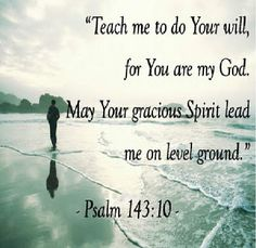 Teach me to do Your will, for Yor are my GOD. May Your gracious Spirit lead me on level ground. Psalms 143:10