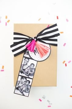 photo booth strip // such a cute way to wrap a gift with some added personality!