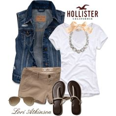 Jean vest and khaki shorts Short Outfits, Spring Outfits, Casual Outfits, Cute Outfits, Fashion Outfits, Grunge Outfits, Khaki Shorts Outfit, Jean Vest Outfits, Hollister Outfit
