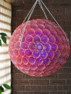 Giant Sparkleballs need a lot of support. Tracey anchored hers at 4 points to distribute weight. Holiday Ideas, Christmas Ideas, Christmas Crafts, Labour Day America, Cup Art, Porch Ideas, Outdoor Christmas, Christmas Decorations To Make, Christmas Balls
