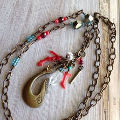 Excited to share the latest addition to my #etsy shop: Red Coral Necklace, Wood Hook Pendant, Garnet Birthstone, Crystal Stone, Boho Style, Metal Pyrite Beads, Antique Finish, Long Brass Chain.
