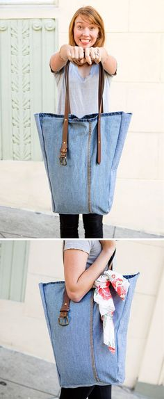 A Weekender Bag From Old Jeans