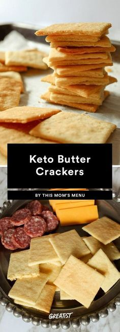 Delicious keto snacks that you can enjoy. We found the best keto friendly sweet and savoury snack recipes online and put them together in this post! Butter Crackers, Low Carb Crackers, Keto Crackers Recipe, Cracker Recipe, Healthy Crackers, Homemade Crackers, Cheese And Crackers, High Fiber Crackers, Graham Crackers