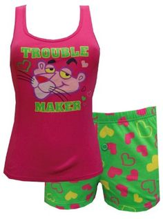 ae08d8ad3397c2 Amazon.com  Pink Panther - Trouble Maker Tank Boxette Set for women   Clothing