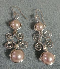 Wire Wrap Glass Pearl Earrings. $15.00 + $4.00 shipping.  Contact me if interested.