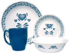 Corelle Livingware™ Blue Hearts 16-pc Set - Want enough of this set to feed at least 12 in one setting.