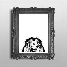 IMPRESIÓN de cara de Leones africanos / León / macho / Taxidermia / Stencil / silueta / imágenes prediseñadas / Vector / pared / arte / decoración