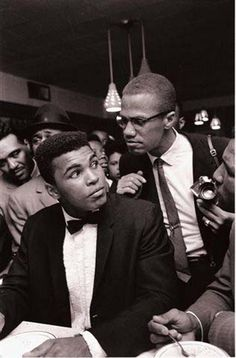 "Malcolm X & Mohammed Ali. ""You're not supposed to be so blind with patriotism that you can't face reality. Wrong is wrong, no matter who says it.""( X ) . . . ""The fight is won or lost far away from witnesses – behind the lines, in the gym, and out there on the road, long before I dance under those lights."" (Ali)"