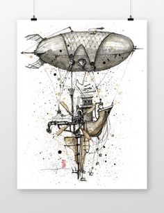 the fairytale zeppelin by coffeeAFTEReight on Etsy Zeppelin, Fairy Tales, Doodles, Behance, Drawings, Unique Jewelry, Handmade Gifts, Etsy, Vintage