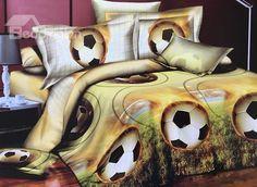 Fancy Soccer Print 4-Piece Polyester #3D Duvet Cover #bedroom #bedding #decor