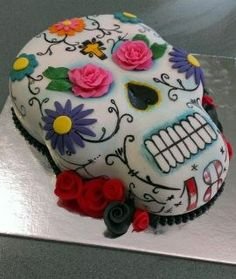- Sugar skull cake. Choc fudge cake with fondant .Handpainted.