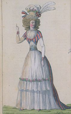 Journal de la Mode et du Gout, March 1790. Very patriotic! I love the roses on the skirt and the lovely belt!