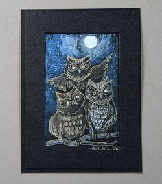 Owls / Metallic pen drawings and Metallic Watercolor paint on black paper 6'x9'