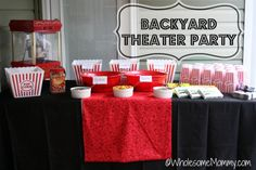 Details for A Backyard Movie Theater Party - details on how to host an Outdoor movie! From WholesomeMommy.com