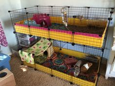 Reinforce a stacked C and C cage by adding extra grids perpendicular to the walls between the two levels.